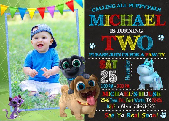 Puppy Dog Pals Invitation Puppy Dog Pals Birthday Puppy Dog Pals Party Puppy Puppy Birthday Parties 1st Birthday Party Invitations Dog Themed Birthday Party