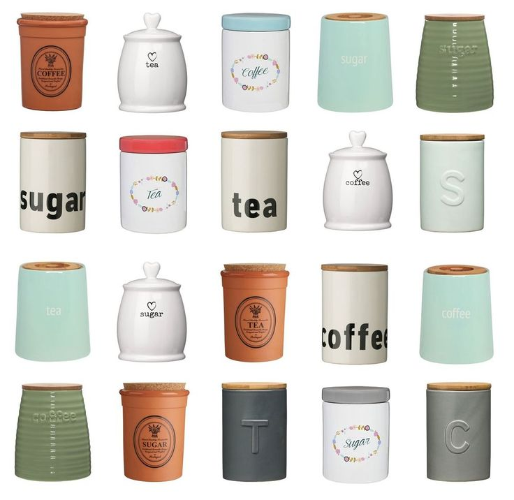 Tea Coffee Sugar Canisters Pots Kitchen Storage Jars Ceramic Bamboo Mix Match