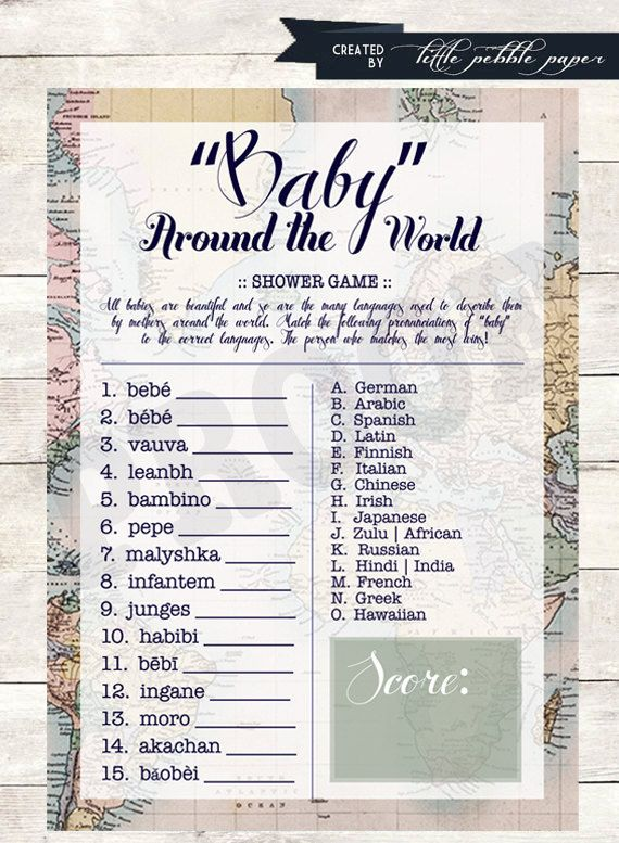 Welcome to the World Baby Shower Game Baby by LittlePebblePaper