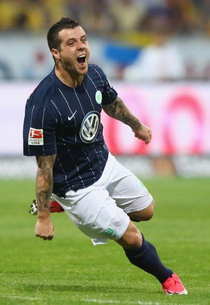 Vieirinha of Wolfsburg celebrates his team's first goal during the Bundesliga Playoff leg 2 match between Eintracht Braunschweig and VfL Wolfsburg at Eintracht Stadion on May 29, 2017 in Braunschweig, Germany.
