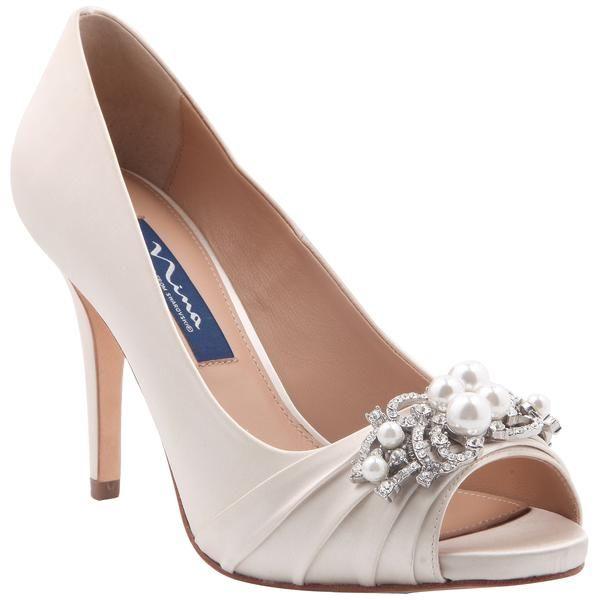 Ruana Ivory Satin Sparkly Wedding Shoes Bridal Shoes Nina Bridal Shoes