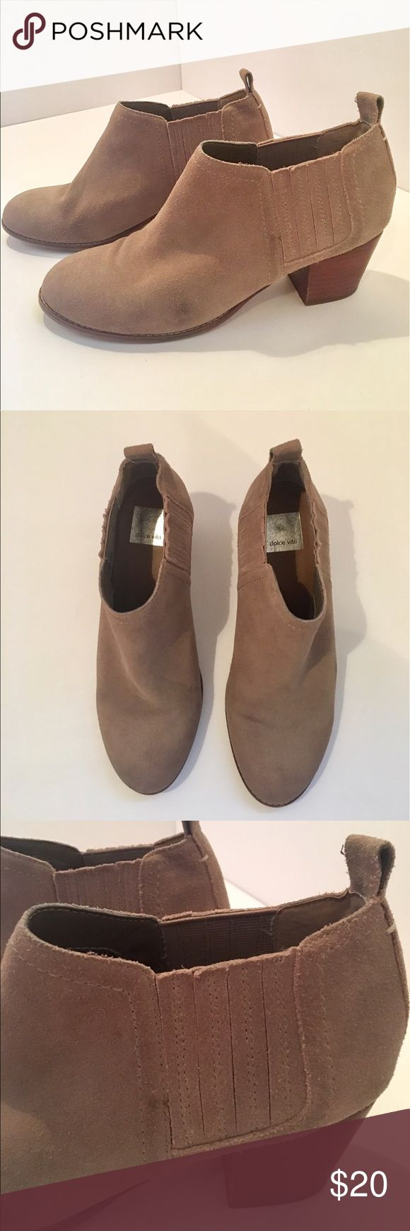Tan Booties ADORABLE tan booties by Dolce Vita with small heels...details pictured in pictures #3 & #6❤️ comment below if you have any questions or wanna make an offer! Dolce Vita Shoes Ankle Boots & Booties