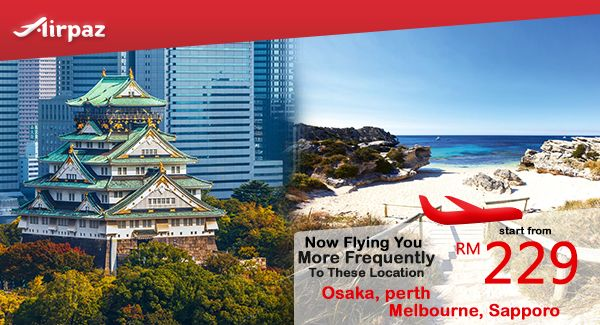 Now you can fly to Perth, Melbourne, Osaka, and Sapporo right from Malaysia with more promotional flight to choose, not only more frequent flgiht, but also more low fare to choose ! Grab promotional fare for this May and June's flights starting from RM 229.00 with AirAsia's flights on Airpaz . What are you waiting for? Book Now !