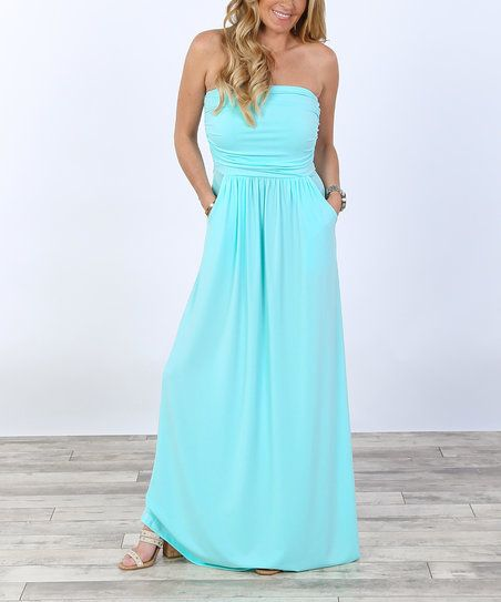 Coco and Main Mint Strapless Maxi Dress | zulily