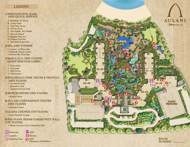 Disney's Aulani Resort & Spa Map- For a FREE Disney Vacation quote contact https://www.facebook.com/OUATVLeslie