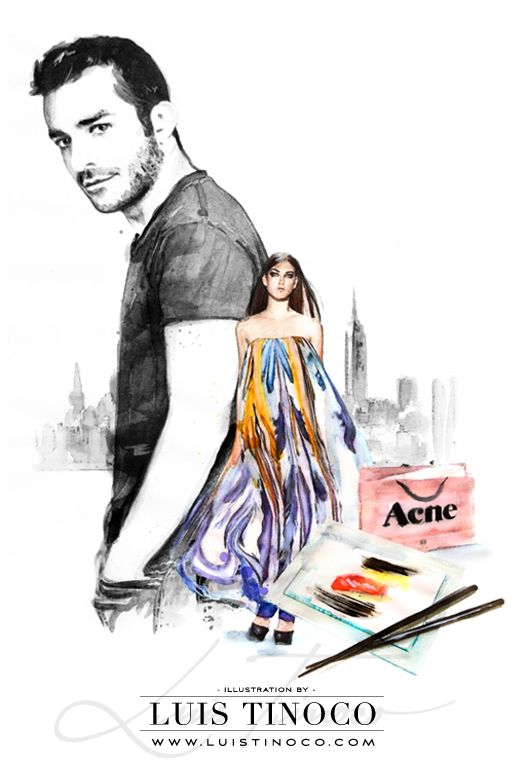 """MAYBELLINE NYC GUIDE 2014 """"BCKSTG"""" Michael Angel Portrait ILLUSTRATION by LUIS TINOCO http://www.luistinoco.com/"""