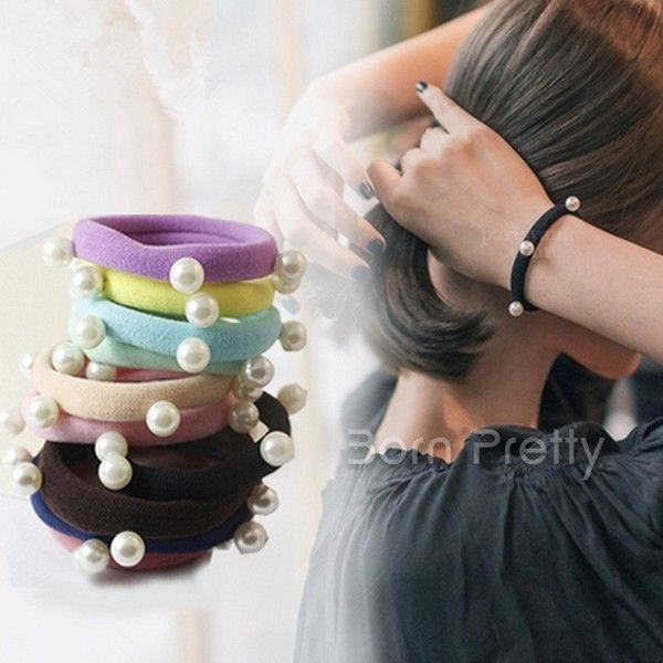 $0.94 Lady Black Elastic Phone Wire Hair Bands Ponytail Holder - BornPrettyStore.com