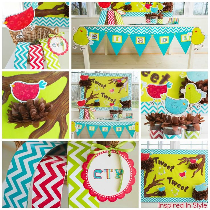 Tweet birds and chevron collage by Creative Teaching Press Style by Inspired In Style www.inspiredinstyle.com