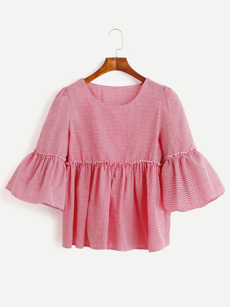 Red Gingham Bell Sleeve Ruffle Hem Blouse -SheIn(Sheinside)
