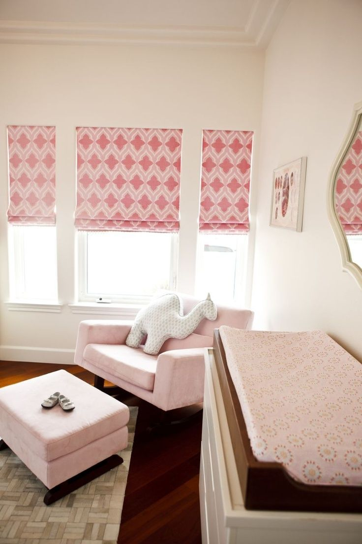 Contemporary roman shade in schumacher imperial trellis fabric by - Christopher Farr Venecia Hot Pink Roman Shades In Nursery