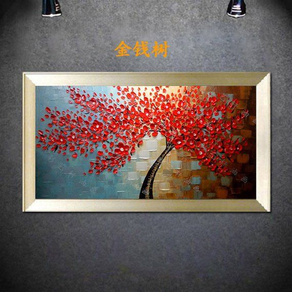 5a5c72a562c9d1 Hand-painted big size Cherry Blossom Tree wall art picture living room  bedroom h…