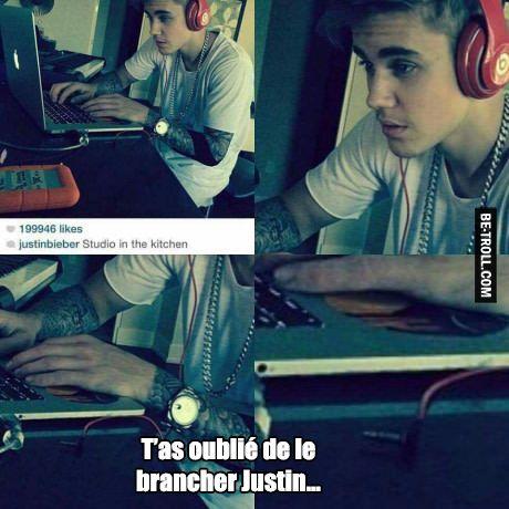 T'as oublié de brancher le casque, Justin Bieber...