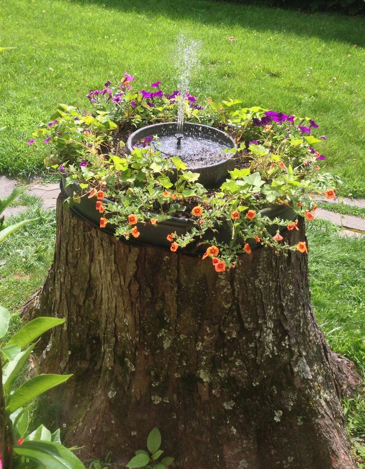 17 best fountain ideas on pinterest diy fountain diy for Tree trunk slice ideas