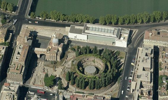 Aerial view of Ara Pacis... top... and the huge circular mausoleum of Augustus... below it.