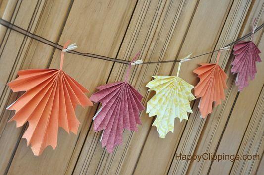 DIY: Folded Paper Fall Leaves garland Guirnalda de hojas de papel con doblez hojas otono