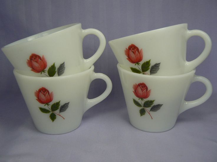 Vintage JAJ Pyrex June Rose Handled Cup Mug Set of 4 1970s MINT!