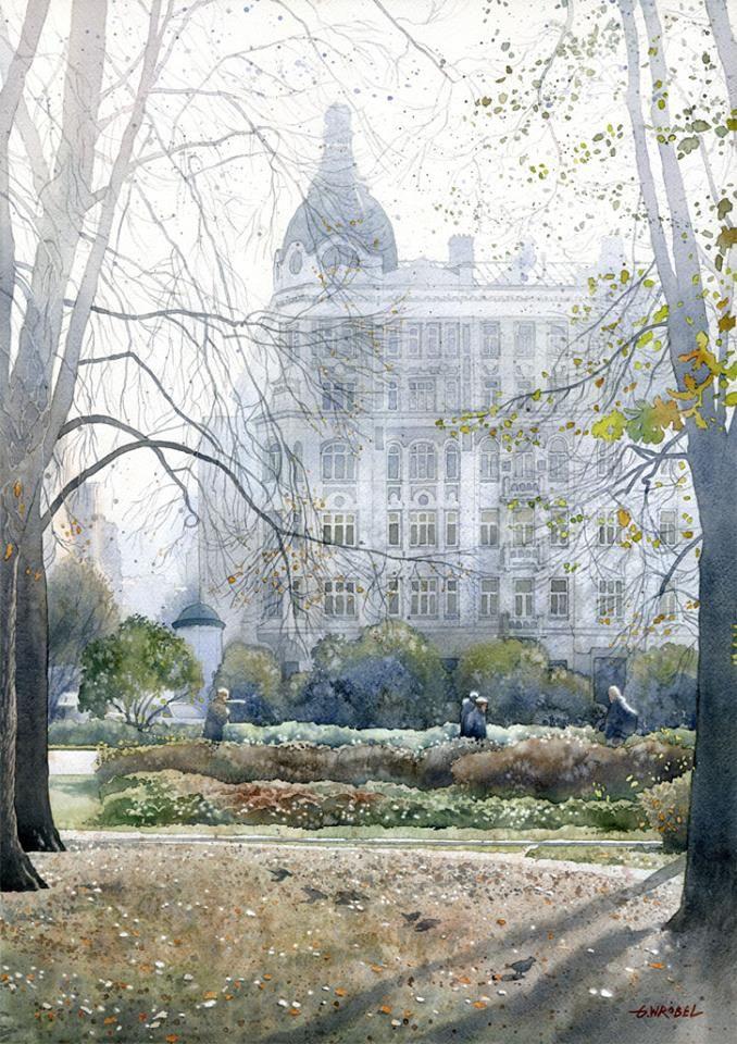 Grzegorz Wróbel - Watercolors / Akwarele      Kamienica Wilhelma Rakmana w Warszawie akwarela 50x70 cm