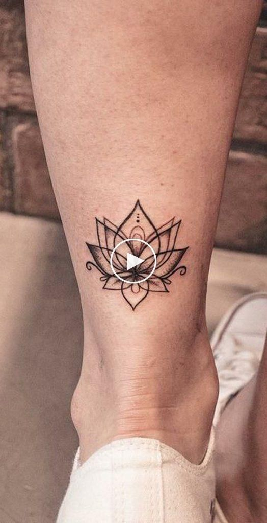 Cool Lotus Ankle Tattoo Ideas for Women Small Flower Outline Leg Tat – small …