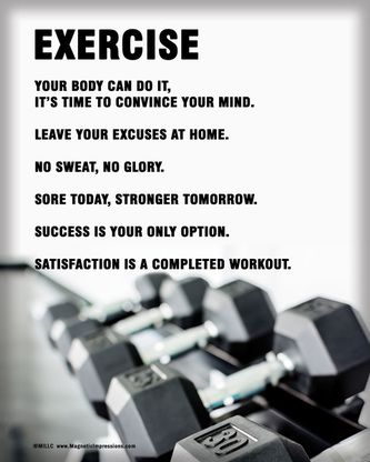 """Motivate yourself with Exercise Weight Set Poster Print. """"Leave your excuses at home,"""" and """"No sweat, no glory,"""" are some inspirational quotes that will push you to work out!"""