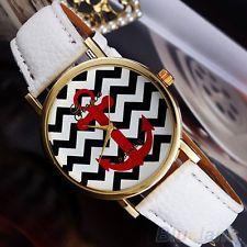 Women Geneva Stripes Print Leather Band Analog Quartz Wrist Watches White BN5U