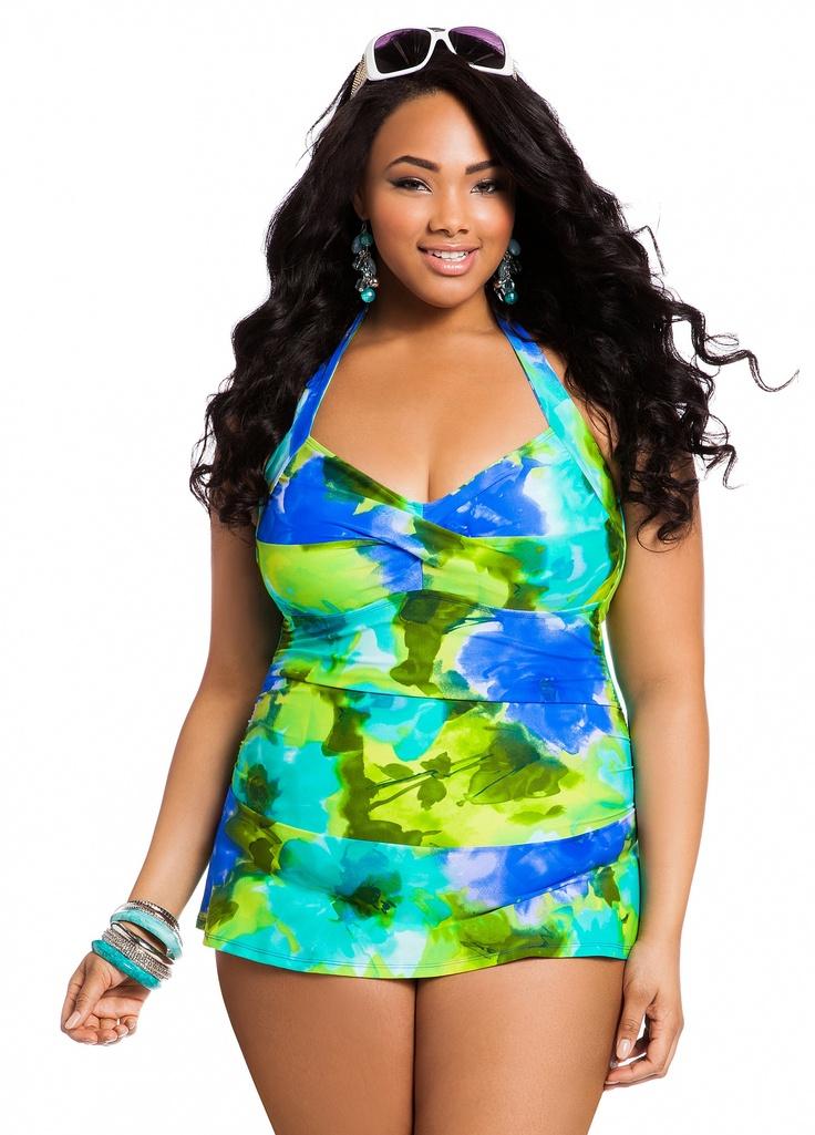 Extra long plus size swim dresses