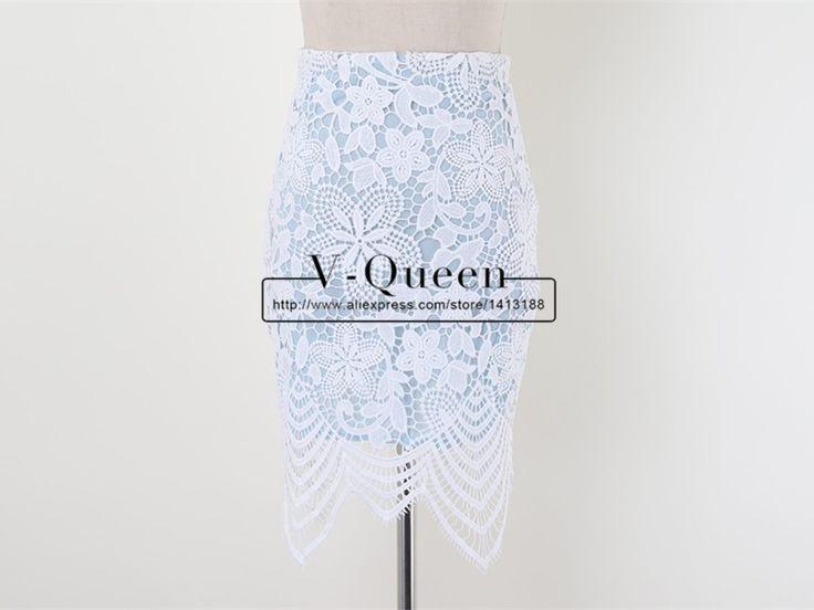 Мода 2015 embroidere крючком цветочные кружева асимметричная подолы высокая талия выдолбите вне Bodycon карандаш мини юбки Femininos A1506031 купить на AliExpress