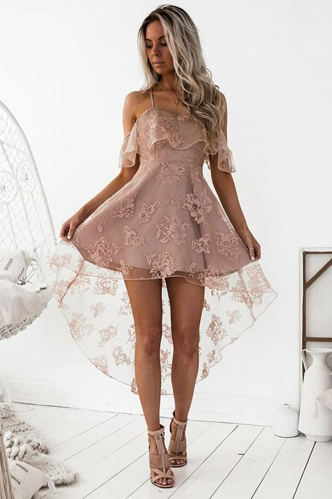 A-Line Off-the-Shoulder High Low Blush Sleeveless Lace Homecoming Dress 2017927    This dress could be custom made, there are no extra cost to do custom size and color.    Description   1, Processing time: 20 business days   Shipping Time: 7-10 business days    Silhouette;A-Line  Neckline;Off-the...
