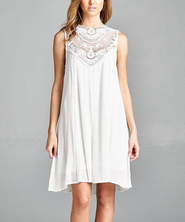 Look at this Avenue Hill Off-White Lace-Accent Dress on #zulily today!