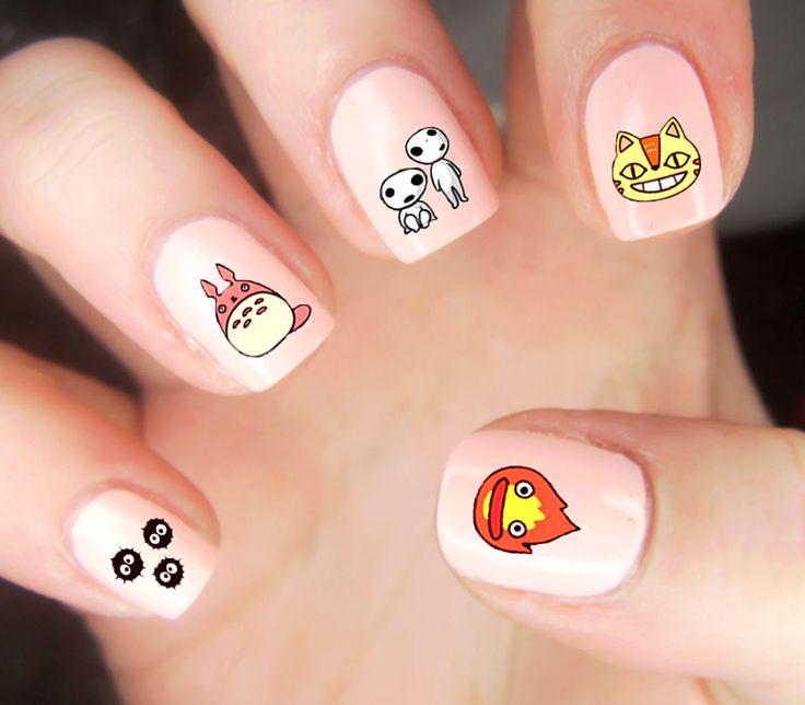 Studio Ghibli Nail Decals #studioghibli #anime #totoro #nails #kawaii #cute #merchandise