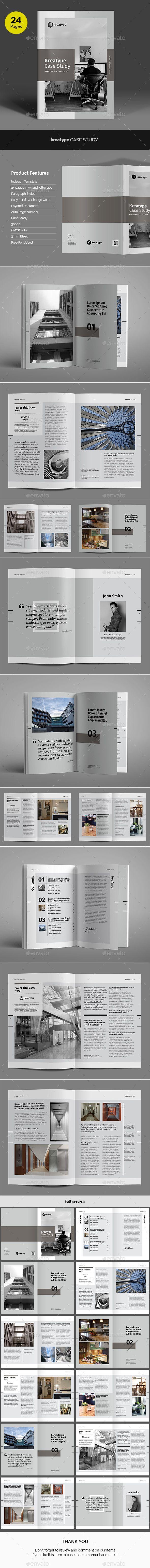Kreatype Case Study Brochure Template InDesign INDD. Download here: https://graphicriver.net/item/kreatype-case-study/17367644?ref=ksioks