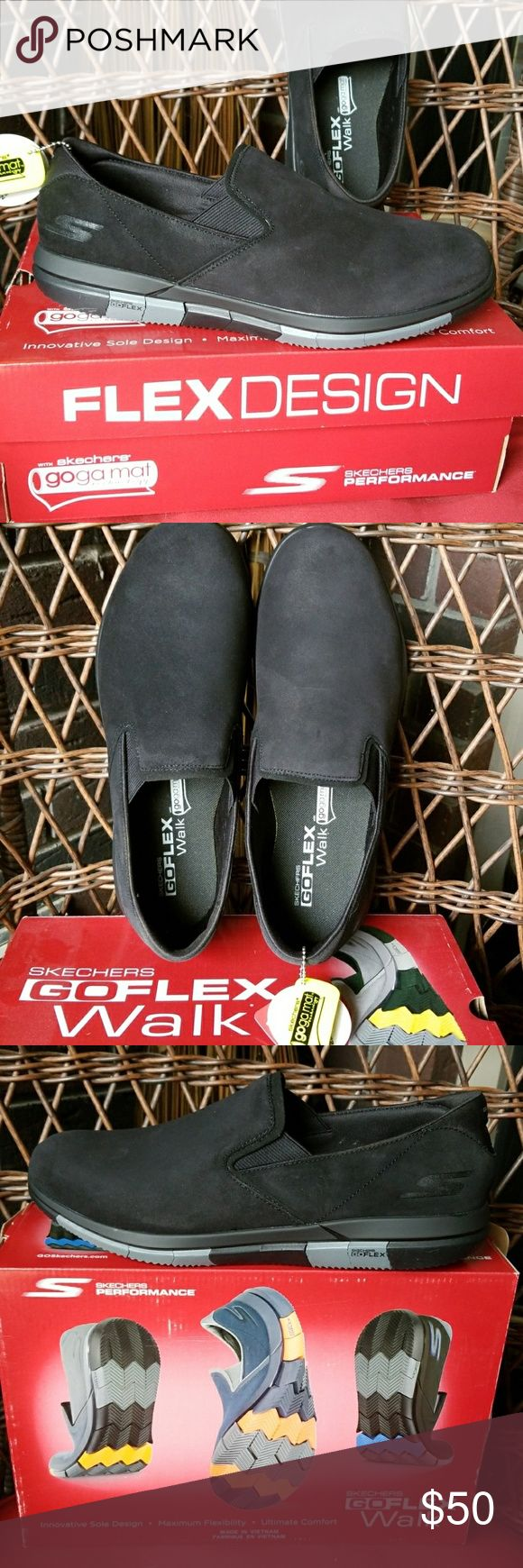 Skechers go flex walk Skechers go flex walk mens slip on walking shoe . BLACK/GRAY . SIZE 10.  SHIP WITHOUT THE ORIGINAL BOX.  Brand new ,unused. Skechers Shoes Loafers & Slip-Ons