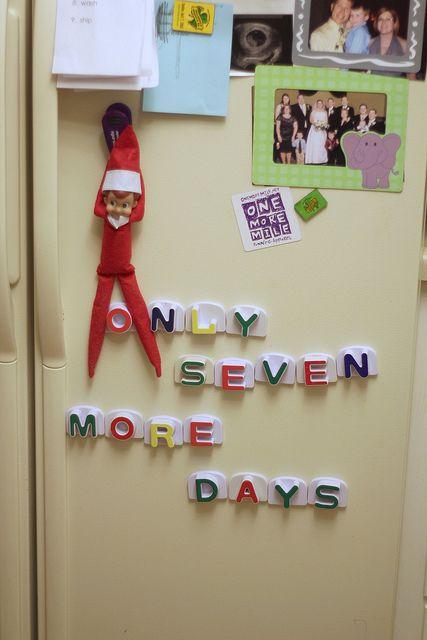 Elf on the Shelf - use fridge magnets!