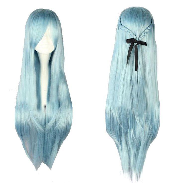 Halloween Costume Sword Art Online SAO Asuna Cosplay Perruque Wig Longue Ligne Droite Light Blue Accessoires Cheveux: Amazon.fr: Jeux et Jouets