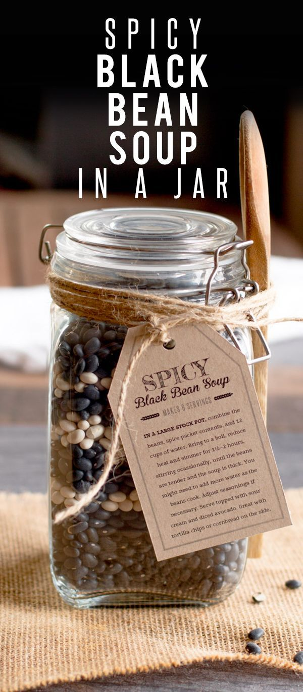 Spicy Black Bean Soup in a Jar: I LOVE this DIY gift idea because everything needed to make this recipe is in the jar (minus the water of course..)!