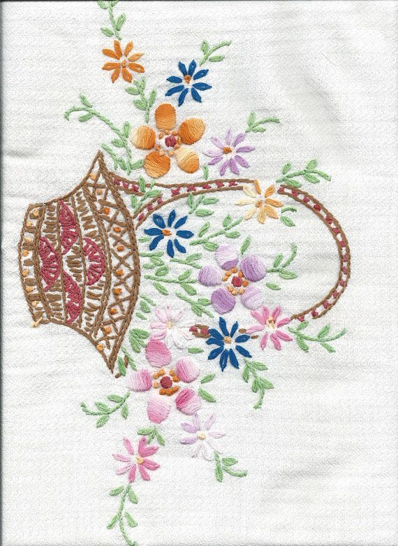 5 vintage embroidery images, baskets of flowers, vintage linens, old ...