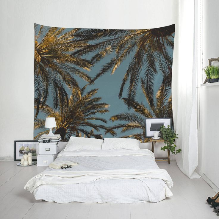 Beach Tapestries, Palm Tree Tapestry, Tropical Tapestry, Palm Leaf Art, Tropical Decoration by Macrografiks on Etsy
