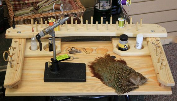 Fly Tying Station  The fly tying station is hand crafted from solid pine in rural Idaho. The seller is the crafter. It is lightweight, but
