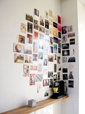 ways to make you walls look cool 4.   Yes, we're talking real printed photographs. Turn your wall into a collage way prettier than your Facebook timeline. Tape, tack, or glue your photos to the wall — affixing to a corner makes the design more interesting.