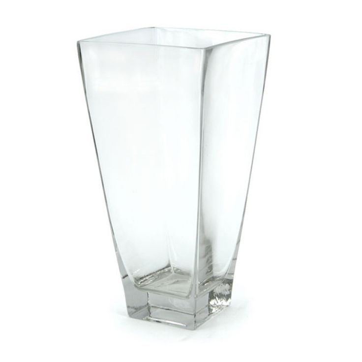 Glass Flared Square Vase 40H x 17WT x 10WB (02-SQV-40X17) | Oceans Floral-We stock competitively priced quality glassware in a large range of styles. Whether you need glass vases, fish bowls, bottles and jars, hanging vases or an elegant showcase piece, we have the latest styles and a fantastic variety of glass vessels to cover all occasions. Weddings, DIYwedding, Centrepiece, Event planning.
