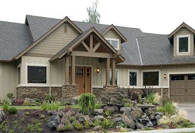 Ranch style homes with half stone dormers a double Craftsman style gables