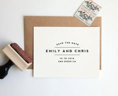 NEW! Save the Date Stamp, Custom Wedding Rubber Stamp (Wood Mounted) Large Minimalist Modern Design Personalized with Names, Date + Location...