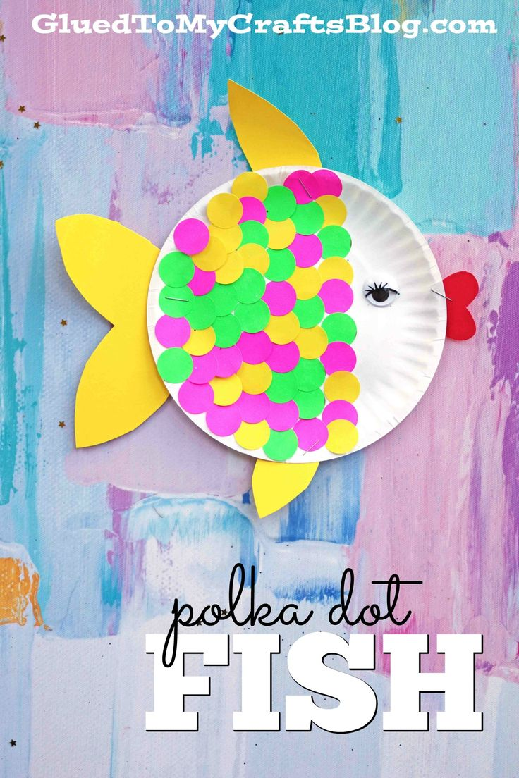 Use yard sale stickers from the Dollar Tree to create scales on a Paper Plate Fish! Find more crafty kid craft ideas on Glued To My Crafts