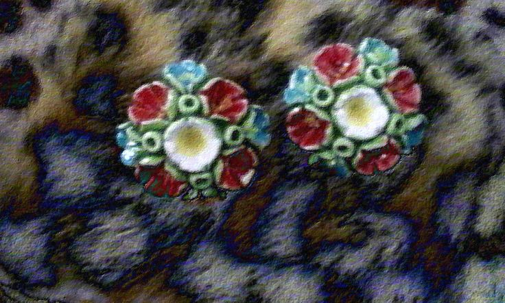 A Porcelain+enamel   RARE VINTAGE earings with a clasp-made in France early '60's by StrangeAttachments on Etsy