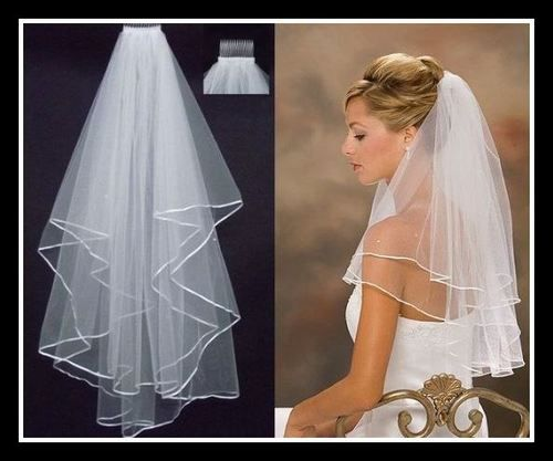 2 Tier Veil with Ribbon Edging and Comb, AU$15.00