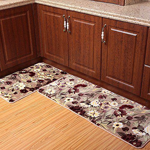 Ustide 2 Piece Rustic Flower Kitchen Rug Set Super Soft Kitchen Memory Foam Rug Coral Fleece Door Mat Bathroom Bathroom Rug Sets Rug Sets Kitchen Rugs Washable