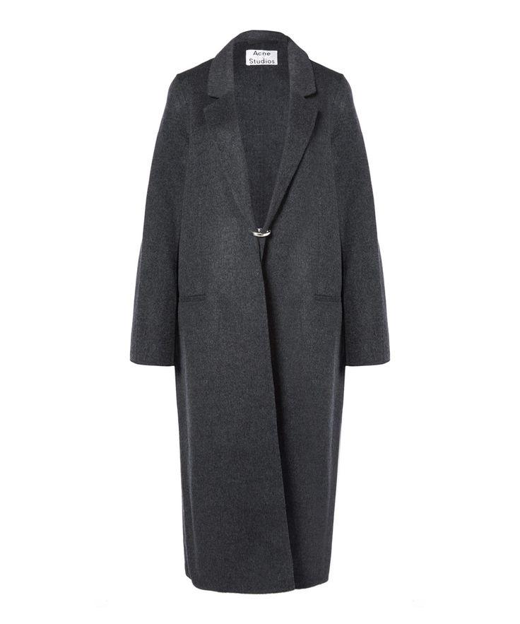 Acne Foin Doublé Cashmere Coat in Dark Gray