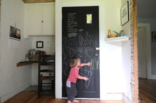We love our chalkboard door too, though we use ours for inspirational quotes....made it before we had kids ;)