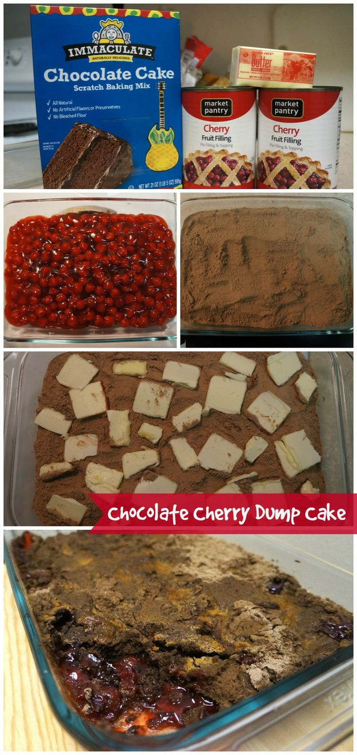 You are 3 ingredients and 45 minutes bake time to an unbelievably easy Chocolate Cherry Dump Cake made with Immaculate Baking Chocolate Cake Mix!