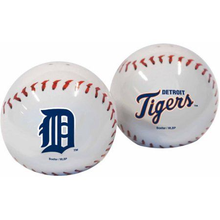 MLB Tigers Baseball Shaped Salt and Pepper Shakers, Multicolor