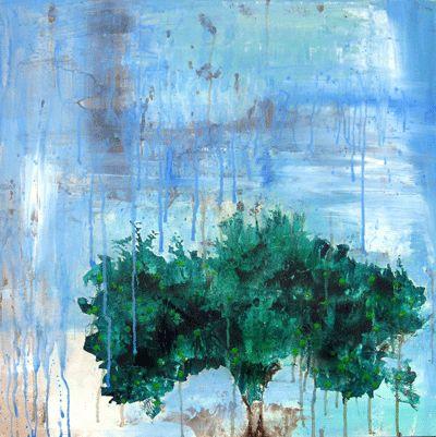Apple Tree In The Rain Art Print